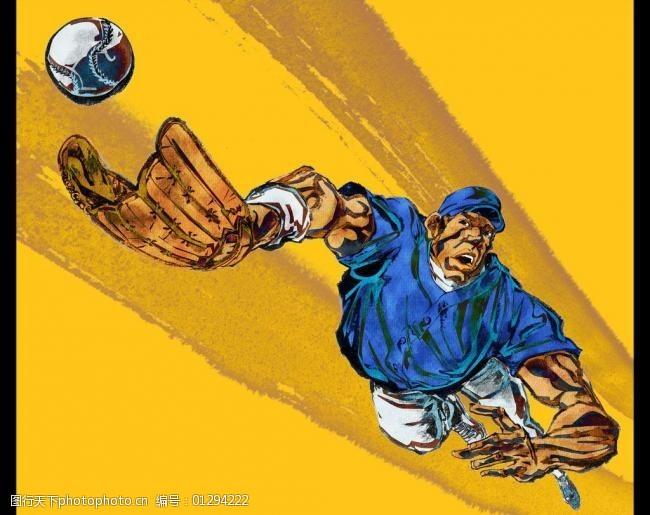 体育比赛手绘人物棒球运动员图片