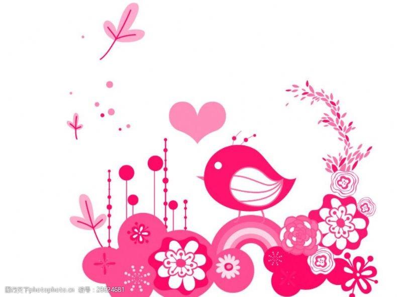 花鸟笔刷卡通小鸟级花朵笔刷