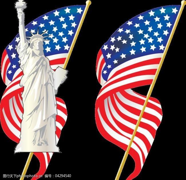 美国国旗模板下载自由女神美国国旗图片
