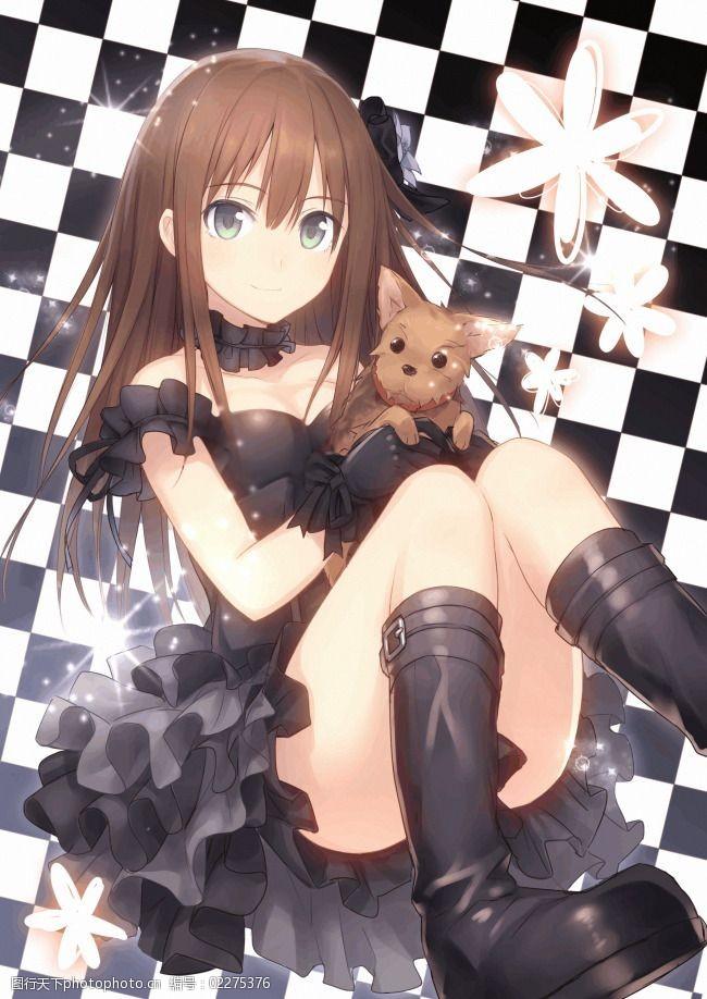 黑白格图片高清黑白格背景少女与小狗