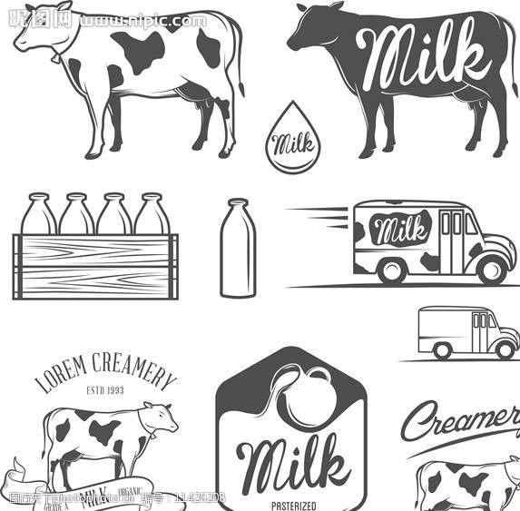牛奶商标蛋糕店标志图片