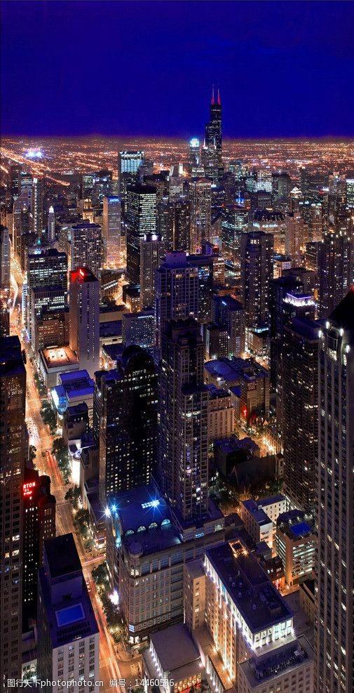 芝加哥夜景芝加哥夜景俯瞰图片