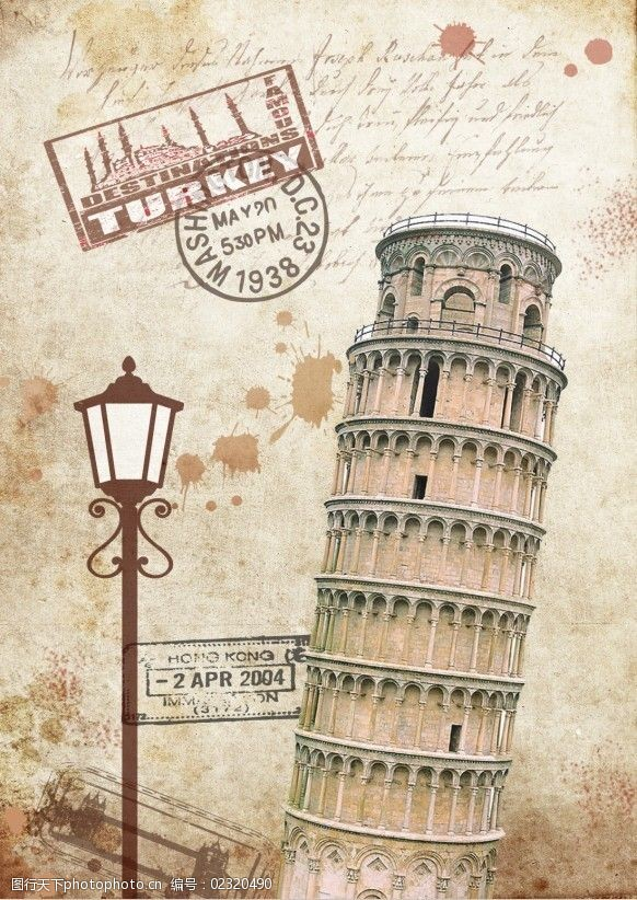 复古邮戳标志性建筑复古图4--比萨斜塔