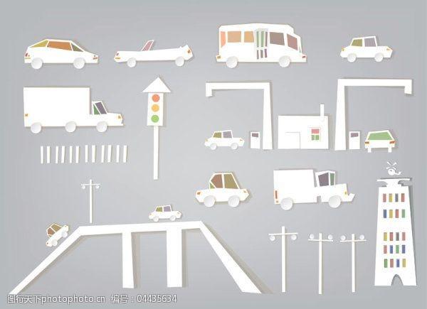 交通剪纸—矢量素材