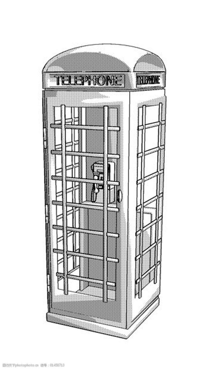 复古电话亭手绘画