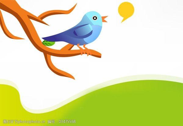 小鸟伊人站在树枝上唱歌的缤纷美丽的鸟儿