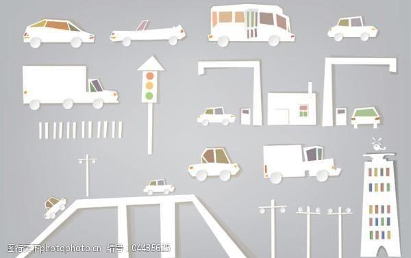 交通剪纸矢量素材