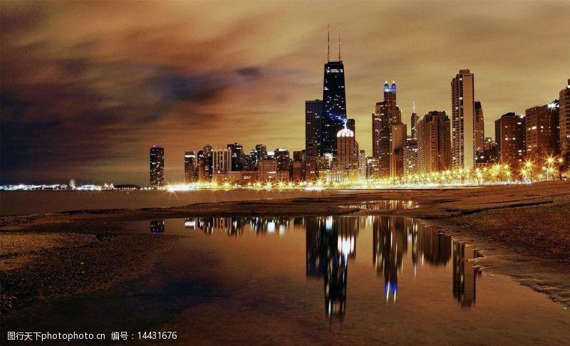 芝加哥夜景芝加哥夜景图片