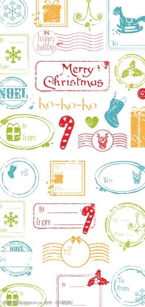 复古邮戳复古圣诞节邮戳矢量素材