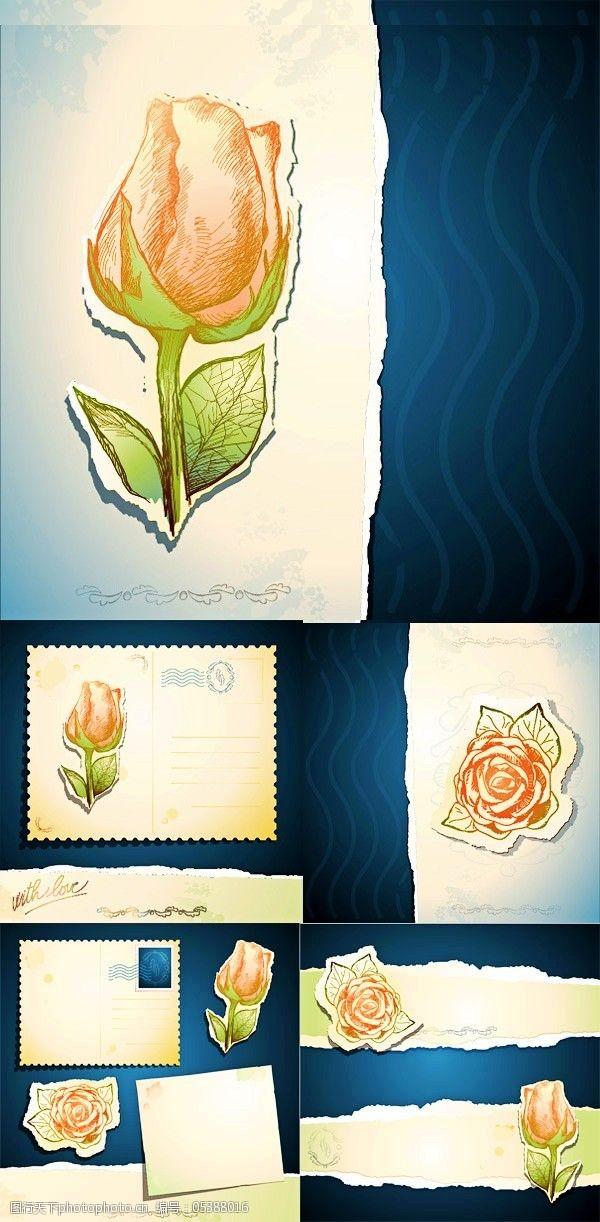 复古邮戳优雅玫瑰卡片