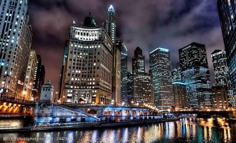 芝加哥夜景芝加哥夜景一角图片