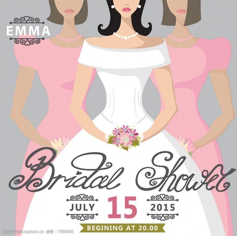 结婚婚纱礼服矢量婚礼卡片设计图片