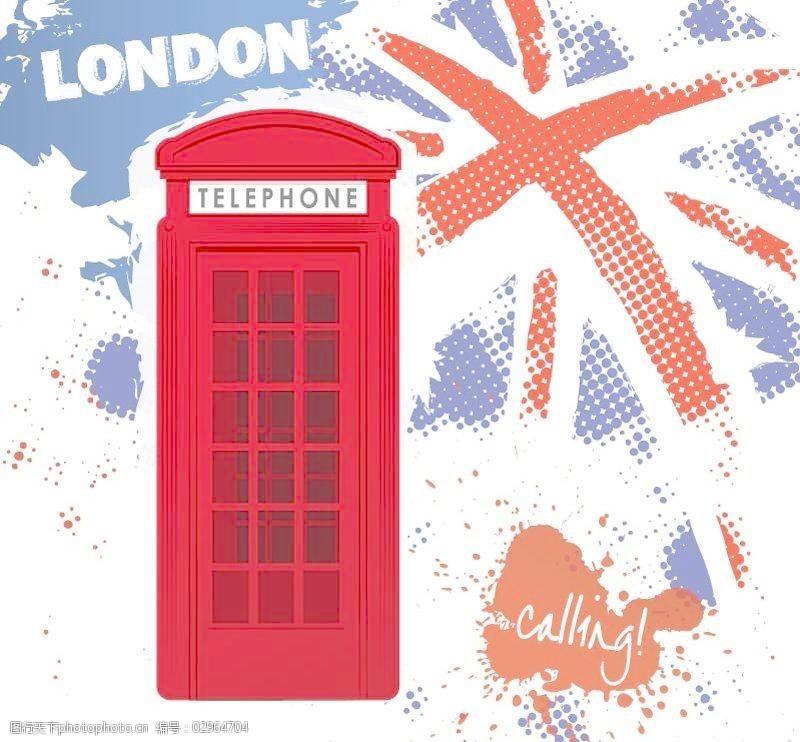 在伦敦街头复古电话亭矢量素材
