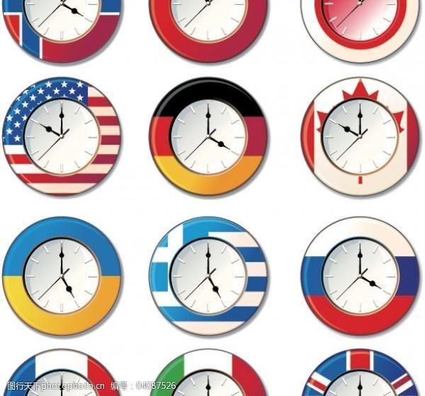 12矢量国旗时钟简笔画