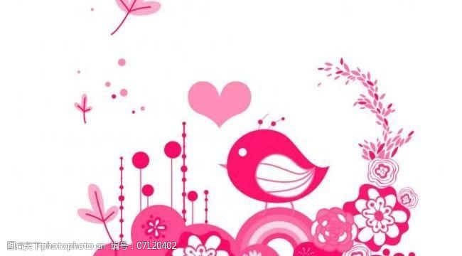 花鸟笔刷卡通小鸟级花朵笔刷图片